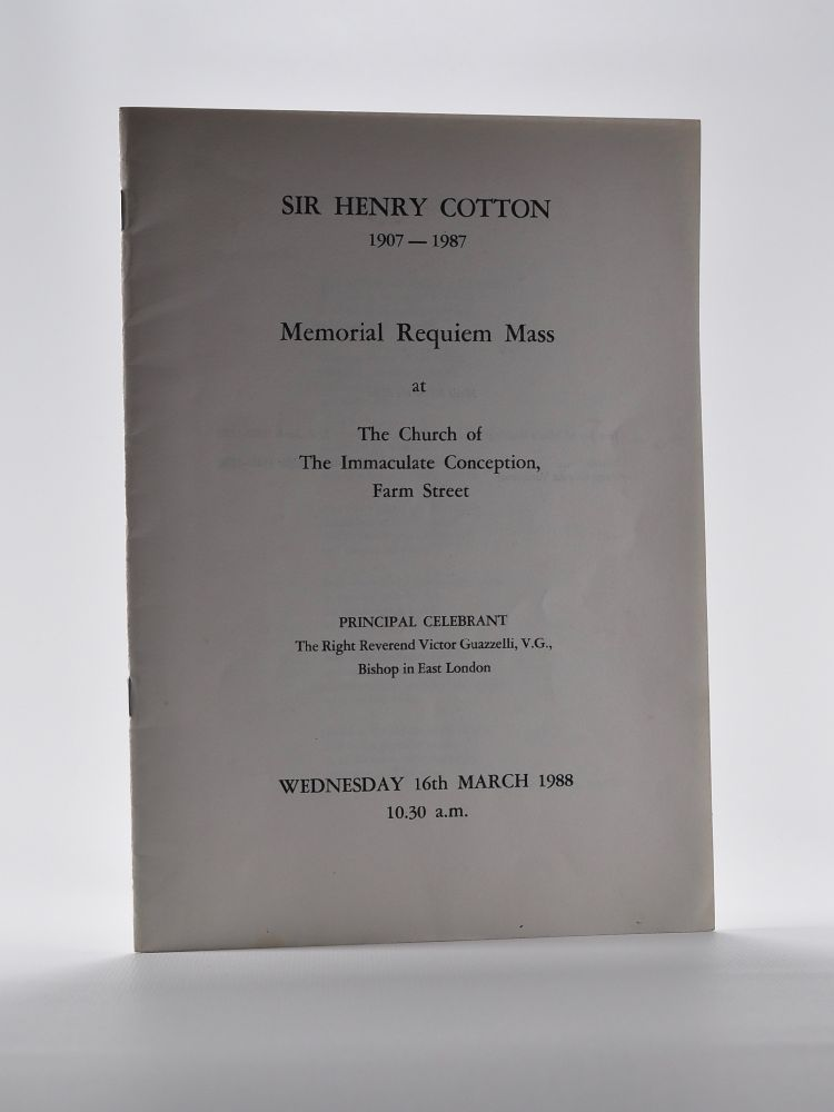 Sir Henry Cotton Memorial Requim Mass Programme from 1988. Henry Cotton.