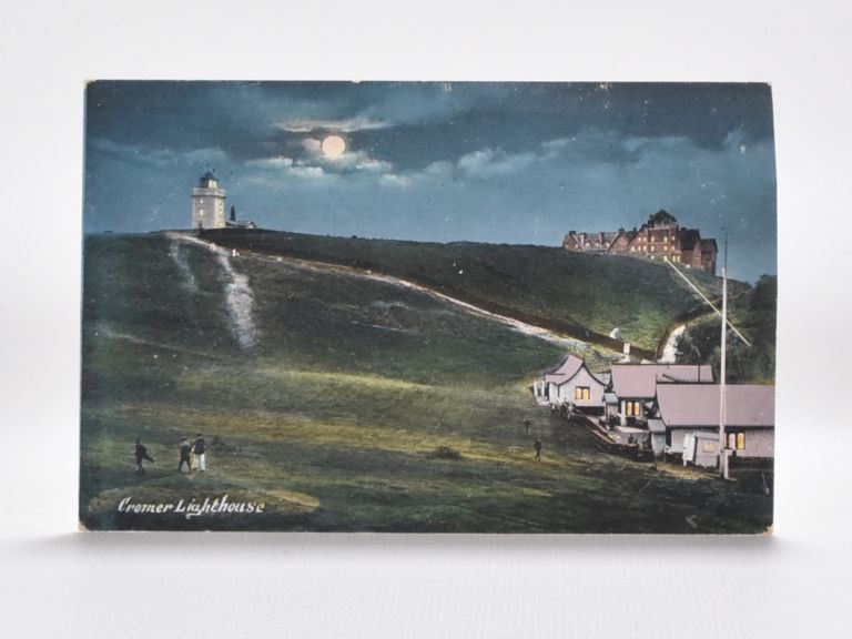 Cromer Lighthouse with Golf Club House and Course in Foreground. Postcard.