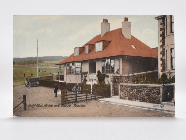 Golf Club House and Course, Peebles. Postcard.