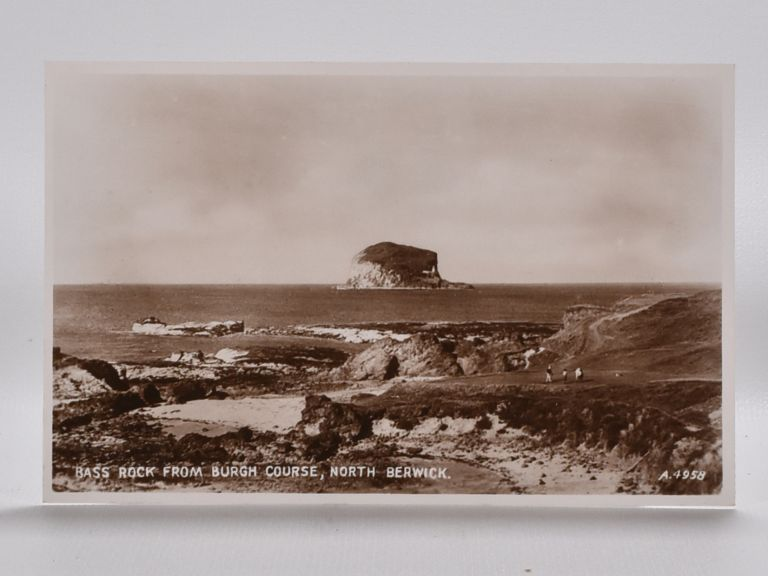 Bass Rock from Burgh Course, North Berwick. Postcard.
