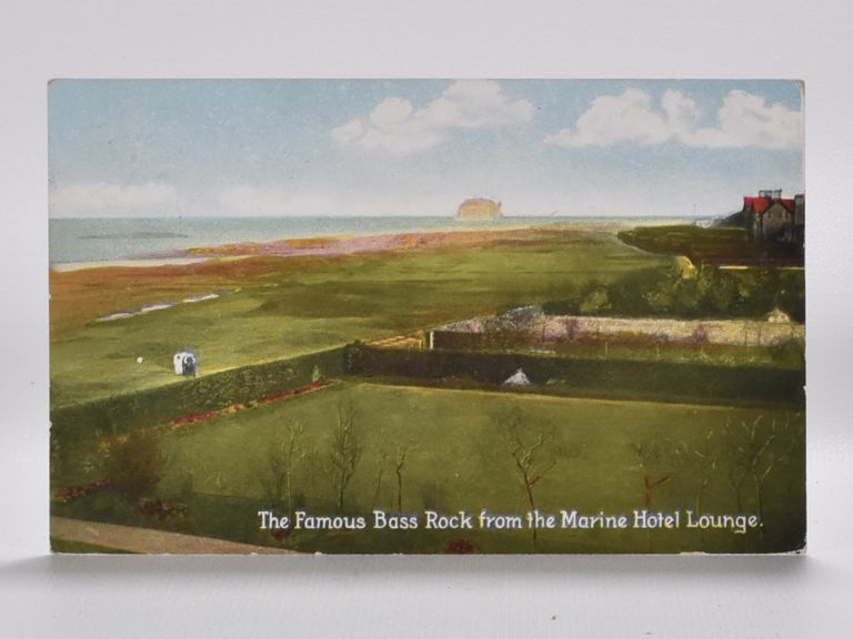 Famous Bass Rock from the Marine Hotel Lounge. Postcard.