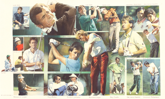 Ryder Cup Players European (original watercolour). Peter J. Ashmore.