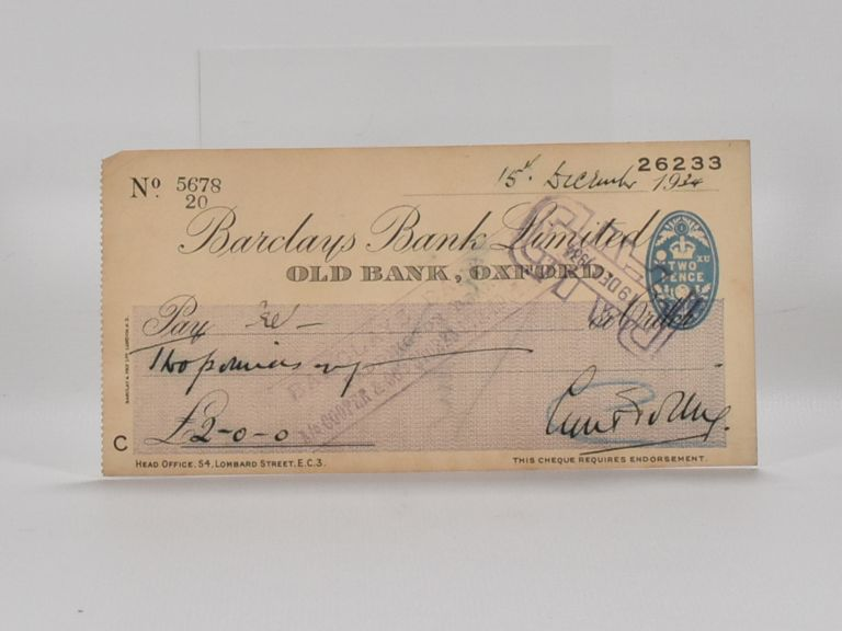 signed bank cheque. Cyril Tolley.