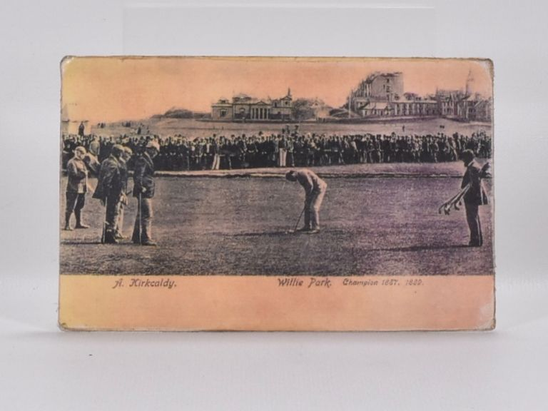 St. Andrews match, Andra Kirkaldy v Willie Park. Postcard.