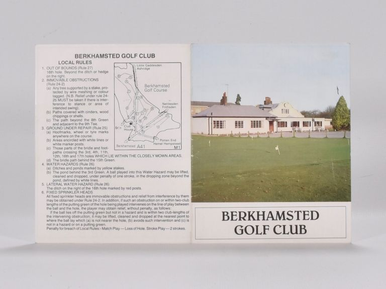 Scorecard. Berkhamsted Golf Club.