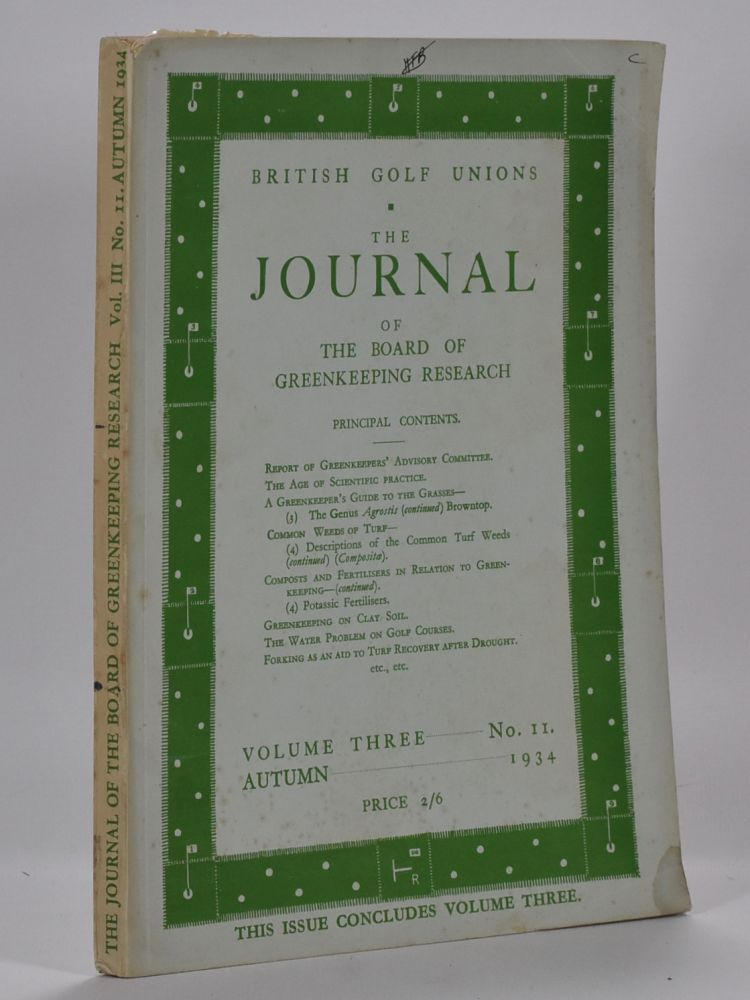 The Journal of The Board of Greenkeeping Research Vol. 3 No.11. British Golf Unions.