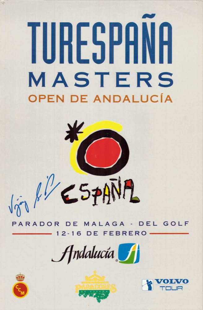 Turespania Masters signed by winner Vijay Singh. Poster.