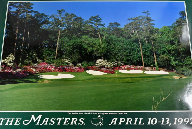Augusta National 1997 13th hole SIGNED by Tiger Woods! Robert. photographer Brown, Poster.