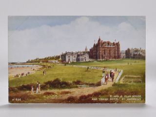 UNUSED VALENTINES POSTCARD OF THE R AND A CLUB HOUSE AND GRAND HOTEL ST ANDREWS. Postcard