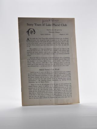Sixty Years of Lake Placid Club. Godfrey Dewey