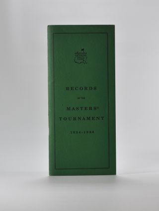 Records of the Masters Tournament. Augusta National Golf Club