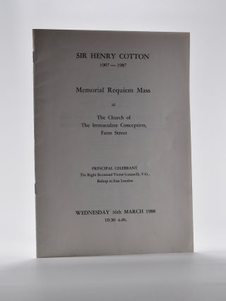 Sir Henry Cotton Memorial Requim Mass Programme from 1988. Henry Cotton