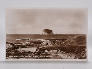 Bass Rock from Burgh Course, North Berwick. Postcard