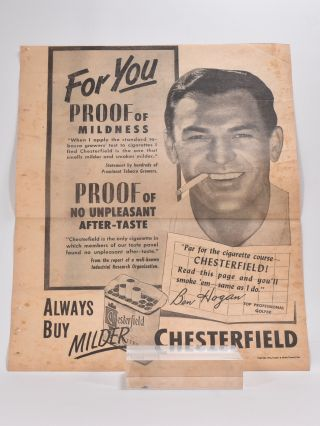 Ben Hogan Golf 1951 Chesterfield Cigarettes Huge Advertisement Ad. Ben Hogan