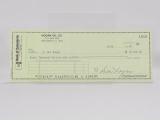 Ben Hogan Oil Co. autographed cheque. Ben Hogan