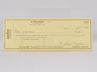 Bank One signed/ autographed cheque. Ben Hogan