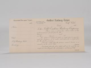 Golfers Railway Ticket. North Eastern Railway Company.