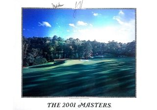 Masters 2001 Poster signed Woods & O'Meara
