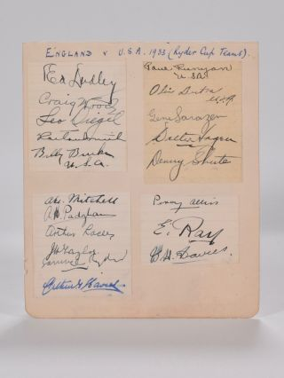 Autograph page full USA team plus many British including Samuel Ryder! 1933 Ryder Cup