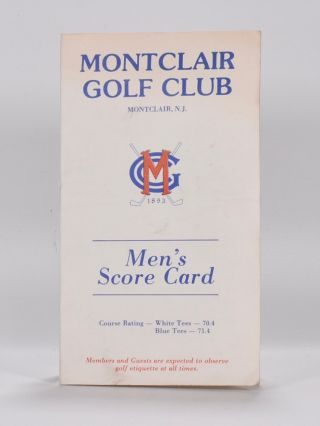 Scorecard. NJ Montclair Golf Club
