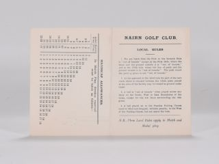 Scorecard. Nairn Golf Club