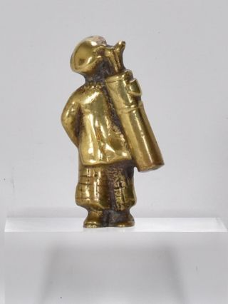 Vintage Solid Brass Figure Off A Golfer Carrying His Golf Clubs