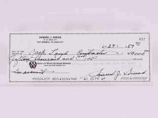 Bank of White Sulpur Springs signed/ autographed cheque. Sam Snead