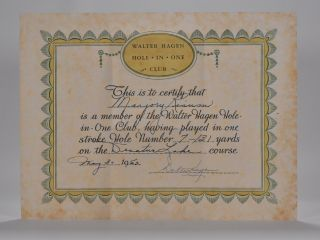 Hole in One Certificate. Walter Hagen