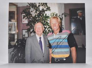 Photograph signed. Ben Hogan, Greg Norman