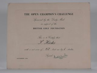 "I Beat ""Bobby Locke"" certificate ""Royal Lytham and St. Annes 1952"" Bobby Locke"