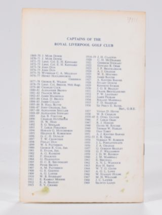 The Royal Liverpool Golf Club 1869-1969: Centenary Dinner, plus invitation