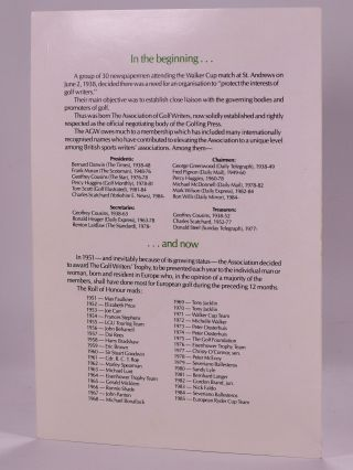 1986 Open Championship dinner menu multiple autographs Seve and more...