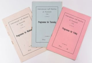 International Golf Matches at Prestwick 1936; 3 programme complete set. British Golf Unions joint...