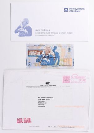Jack Nicklaus £5.00 note and commerative holder/envelope. Royal Bank of Scotland