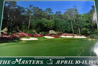 Augusta National 1997 13th hole SIGNED by Tiger Woods! Robert. photographer Brown, Poster