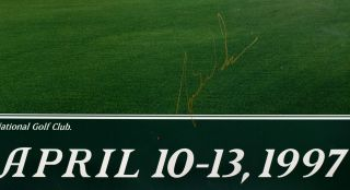Augusta National 1997 13th hole SIGNED by Tiger Woods!